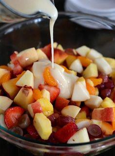 Fruit Salad with Creamy Glazed Dressing {My Favorite Fruit Salad} | Mel's Kitchen Cafe Grape Juice, Fruit Juice, Agave Nectar, Types Of Fruit, Vanilla Greek Yogurt, Fruit Salad Recipes, Corn Starch, Dressing, Food