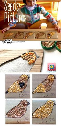 Seed pictures – fun kids art project using all natural materials for beautiful, textural creations. Seed pictures – fun kids art project using all natural materials for beautiful, textural creations. Kids Crafts, Fall Crafts, Projects For Kids, Diy For Kids, Wood Crafts, Kids Fun, Wood Projects, Seed Art For Kids, Diy Wood