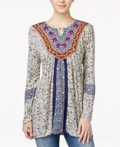 Lucky Brand Printed Layered Top