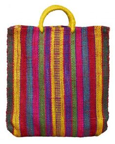 Mexican Popular Craft, Yellow Handle Straw Tote, Celeste House