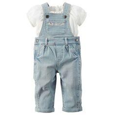 Baby Girl Carter's Crinkle Gauze Top & Denim Overalls Set