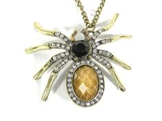 Amazon.com: Crystal Spider Necklace Arachnid Bug Insect Halloween Gold Tone Tarantula Vintage Pendant Fashion Jewelry: Jewelry