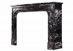 A 19th century French Louis XIV style black with white vein marble fireplace. Stock No 3927
