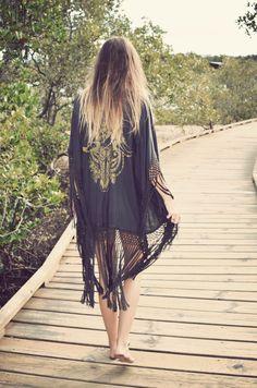 kimono and ombre hair