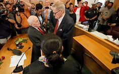 A Texas judge conducts a marriage ceremony for George Harris, center left, 82, and Jack Evans, 85. - Tony Gutierrez/AP Photo
