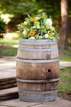 wine barrel floral arrangement by Holly Chapple Flowers http://www.hollychappleflowers.com/