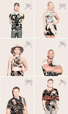 Team Arrow - Oliver Queen, Felicity Smoak, Thea Queen, John Diggle, Malcom Merlyn and Roy Harper