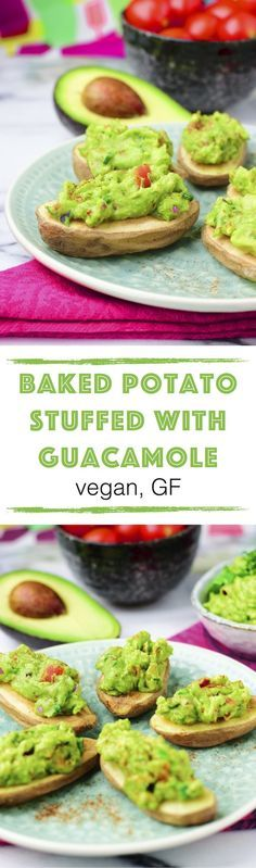 *new* Baked Potato Stuffed with Guacamole This easy recipe for Baked Potato Stuffed with Guacamole combines my love for Mexican flavors and #comfort food. This is a full meal, an appetizer, or finger food – what you want you can have it all. It's so easy to make, #vegan, #glutenfree and allergy friendly.
