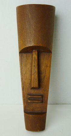 Vintage Mid Century Wood Mask Sculpture Wall Art Tiki Easter Island | eBay..