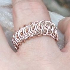 The Perfect Ring is made from a single strip of the Vertebrae weave, joined in a continuous circle. Vertebrae, aka Kingscale, is easy enough for a beginner. We have a slideshow that teaches the weave. Wondering what makes it so perfect?