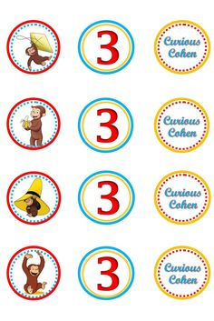 Items similar to Curious George Cupcake Topper - Printable on Etsy Curious George Cupcakes, Curious George Party, Curious George Birthday, Sock Monkey Birthday, Monkey Birthday Parties, 3rd Birthday, Cupcake Toppers, Party Planning, First Birthdays