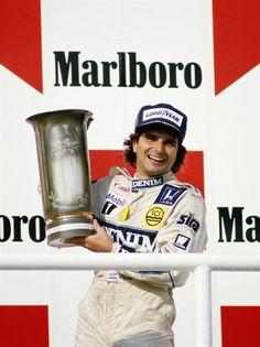Piquet num dos poucos lugares que ele sorria como menino: o pódio.