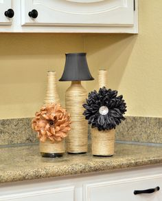 Diy Twine Vases With Wine Bottles Above Cabinet Decor