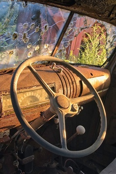Steering wheel and dashboard of an antique farm truck rusting away in a junkyard, with bullet holes in the windshield.