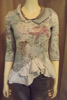 Boho Romantic Lagenlook Upcycled Rose Ruffled Vintage Lace Blouse Size S