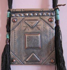 Tuareg SilverTscherot AMULET on dark Leather with by TuaregJewelry, $218.00 https://www.facebook.com/TuaregJewelry