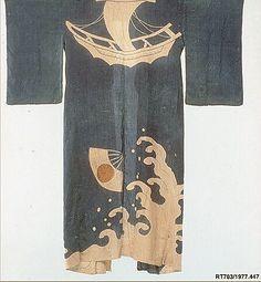Ceremonial Robe  Period: Edo period (1615–1868) Date: 18th century Culture: Japan Medium: Raw silk / Painted resist Dimensions: 67 1/2 x 54 in. (171.45 x 137.16 cm)