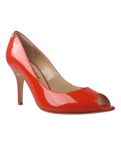 This Paprika Evon Leather Peep-Toe Pump by J.Reneé  is perfect! #zulilyfinds