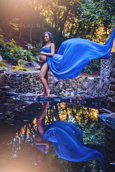 Vivian extra long sheer royal blue maternity Gown