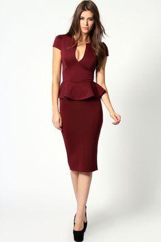 8545a2e4a7b0 Emily Slit Neck Cap Sleeve Peplum Midi Dress Elegant Style Women