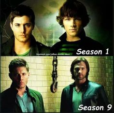 Am I the only one who keeps crying inside because cute, adorable, baby Sammy is all grown up now and his voice changed and he's just so much older and more hurt and more tired?? And Dean... Well... We won't go there... #ohthepain