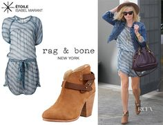Reese Witherspoon's Étoile Isabel Marant 'Zaggy' Dress And Rag & Bone 'Harrow' Ankle Boots