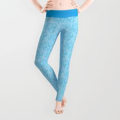 #Leggings with robots and robot parts everywhere! What's not to love? A playful and fun pattern. #robot #robots #pattern #blue #fun #geek #geeky #nerdy #workout #fashion #scifi #sciencefiction #bots