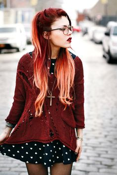 perfect dress and burgundy sweater | I love Lua (Le Happy) so much!! -Xivi