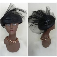 NEW IN THE SHOP! The most adorable Vintage 1950 Black Feather Beaded Bellini Hat http://ift.tt/1lP6fC1