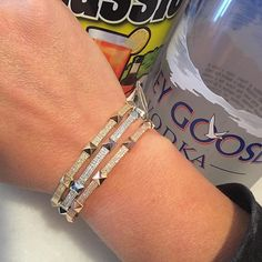 Everyone loves a Sunday brunch stacked with some spike! SHOP NOW at www.jenkdesignsny.com #bangles #bloodymary #sundaybrunch #sunday #brunch #vodka #diamond #stack #jenk