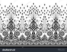 Seamless Traditional Indian motif Embroidery Flowers Pattern, Embroidery Works, Folk Embroidery, Hand Embroidery Designs, Pattern Art, Pattern Design, Print Patterns, Saree Painting Designs, Bordado Popular
