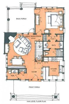Bear Paw Home Plan by Natural Element Homes Tiny House Cabin, Modern House Plans, Small House Plans, Architecture Blueprints, House Blueprints, How To Build A Log Cabin, Interior Sketch, Apartment Plans, Room Planning