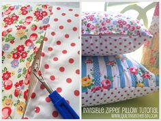Como pregar zíper disfarçado em almofadas | Clubinho da Costura Zipper Tutorial, Pillow Tutorial, Quilted Pillow, Sewing Techniques, Sewing Tutorials, Sewing Projects, Sewing Hacks, Sewing Crafts, Sewing Rooms