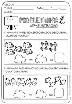 Math For Kids, Lessons For Kids, Fun Math, Math Lessons, Portuguese Lessons, Learn Portuguese, Portuguese Language, Preschool Writing, Word Problems
