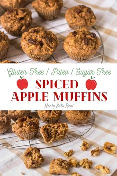 Healthy Spiced Gluten Free Apple Muffins (Paleo & Sugar Free)- These gluten free apple muffins are rich with flavors of apple, walnuts, raisins, cinnamon and nutmeg. The fluffy yet moist texture makes for a perfect healthy treat.#glutenfree #apple via @healyeatsreal Best Paleo Recipes, Primal Recipes, Almond Recipes, Gluten Free Recipes, Whole Food Recipes, Fall Recipes, Apple Muffins, Paleo Treats, Foods With Gluten