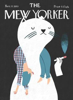 The New Yorker cover, November 2013 by Marquitos Farina The New Yorker, New Yorker Covers, Character Illustration, Illustration Art, Cat Illustrations, Magazine Illustration, Capas New Yorker, Magazine Art, Magazine Covers