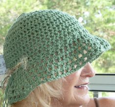Hat Green Summer Brimmed Crochet by hatsbyanne1942 on Etsy, $35.00