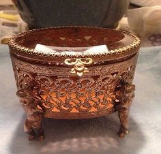 Vintage  Ormolu Brass Oval Filigree Cherub footed Jewelry Trinket box casket