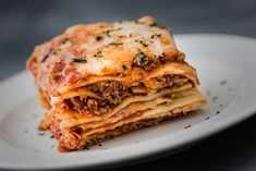 Single serving of Lasagna royalty-free stock photo Pasta Recipes, Dinner Recipes, Sauce Béchamel, Pancake Stack, Everyday Food, Lasagna, Tortellini, Food Photography, Food Porn