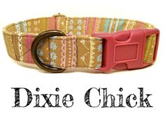 """Brown Pink Blue Yellow Feminine Striped Dog Collar - Organic Cotton - Antique Brass Hardware - """"Dixie Chick"""" by veryvintage on Etsy https://www.etsy.com/listing/152869465/brown-pink-blue-yellow-feminine-striped"""