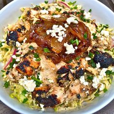 Haute + Heirloom: Copycat Recipe: Zoe's Kitchen Protein Power Plate with Greek Yogurt Marinated Grilled Chicken, Greek Feta Coleslaw, + Caramelized Onions