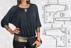 La blusa con las mangas \'el murciélago\'. El patrón a las dimensiones 40,42,44,46 (los rocíos.).\u000a#простыевыкройки #простыевещи #шитье #блуза #блузка #выкройка