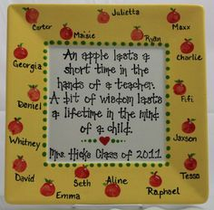 This is a great idea.I love the idea of a picture frame because you can do as done here with a quote OR you could put a fab picture of all the kids on the inside. What a fabulous idea and a great way to remember that year