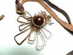 Copper wire necklace  maya eclipse Mayan Indianstyle by keoops8, $40.00
