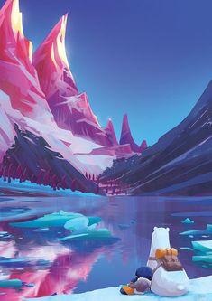 Pop art wallpaper illustrators backgrounds Ideas for 2019 Fantasy Landscape, Landscape Art, Mountain Landscape, Landscape Illustration, Digital Illustration, Polar Bear Illustration, Mountain Illustration, Fantasy Illustration, Manga Illustration