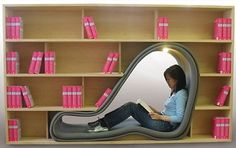 Unbelievably Creative Furniture - a bookcase with a built in reading nook! Creative Bookshelves, Bookshelf Design, Bookshelf Bed, Bookshelf Ideas, Cool Furniture, Furniture Design, Office Furniture, Bedroom Furniture, Unusual Furniture