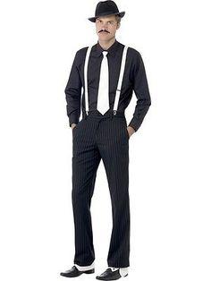 1920/'s Dapper Dan Men/'s Red Navy Stripe Gangster Elasticated Braces Fancy Dress
