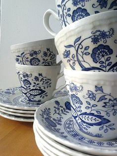 Wedgwood Enoch Blue Heritage Cups, Saucers and Dessert Plates