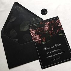 wedding invitations romantic Moody Floral Save the Date Template, Woodsy Dark Forest Wedding Save the Dates, Floral Wedding, Editable Save the Date Template, Templett Forest Wedding, Fall Wedding, Our Wedding, Dream Wedding, Edgy Wedding, Geek Wedding, Black Wedding Decor, Gothic Wedding Ideas, Gothic Wedding Decorations