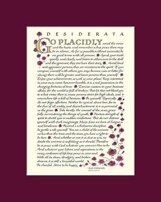 Desiderata Poem by Max Ehrmann. Desiderata posters and prints in beautiful calligraphy. Buy directly from the artist. matted, many sizes and colors. Poema Desiderata, Desiderata Poem, My Children Quotes, Quotes For Kids, Max Ehrmann, Child Of The Universe, Calligraphy Print, Be Gentle With Yourself, Beautiful Calligraphy